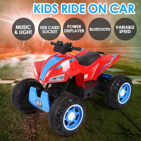 12V ATV Motorized Car Electric Kids Ride On Toy 4 Motors Shiny Headlights