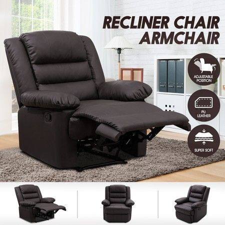 Luxury PU Leather Recliner Chair Armchair Lounging Sofa - Brown