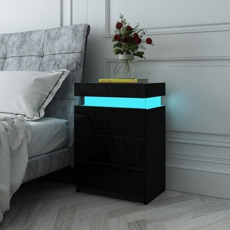 Black Modern Nightstand Bedside Tables 3 Drawers High Gloss Front RGB LED