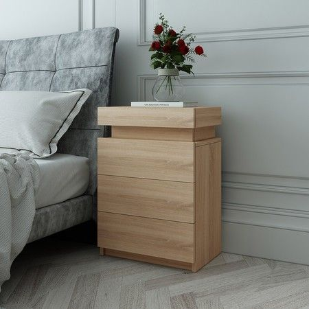 Oak Modern Nightstand Bedside Tables 3 Drawers High Gloss Front