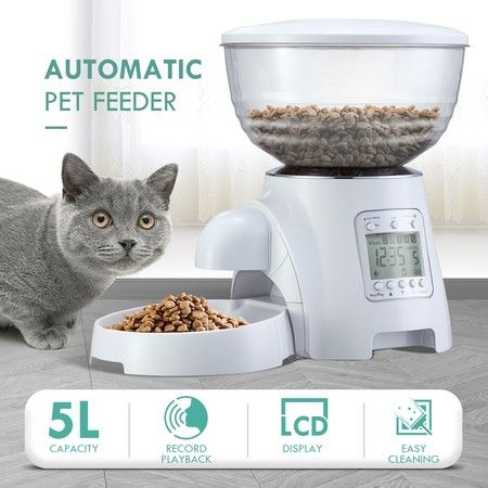 5L Automatic Pet Feeder Cat Dog Food Dispenser White