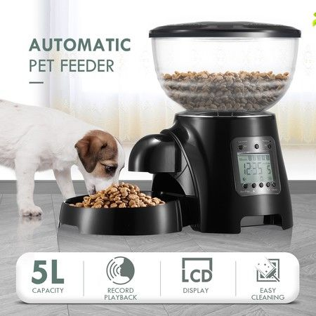 5L Automatic Pet Feeder Cat Dog Food Dispenser Black