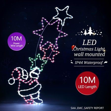New Christmas Lights Santa and Star Motif 10M LED Rope Fairy Xmas Decoration Outdoor Home Display