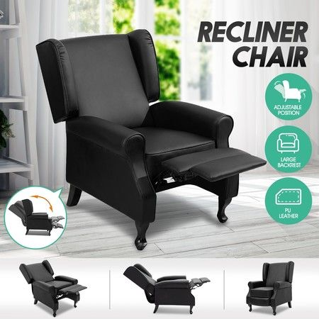 Deluxe PU Leather Recliner Chair Reclining Lounge Sofa Couch Armchair - Black