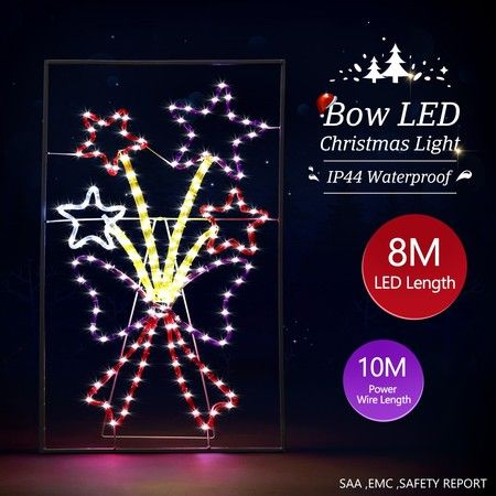 New Christmas Lights Bow and Star Motif 8M LED Rope Xmas Decoration Outdoor Home Display