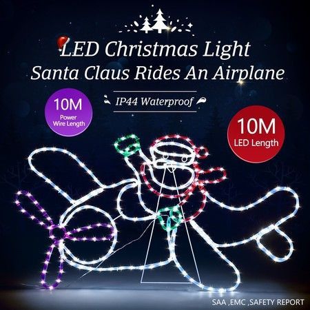 New Christmas Lights Santa Airplane Motif 10M LED Rope Xmas Decoration Outdoor Home Display