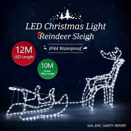 New Christmas Lights Reindeer Sleigh Motif 12M LED Rope Xmas Decoration Outdoor Home Display