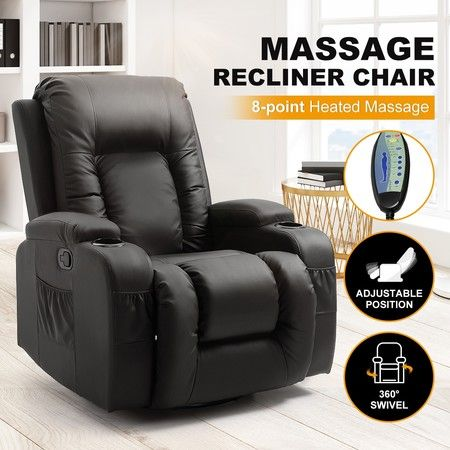 Electric Massage Chair Rocking Armchair Recliner Sofa Heated Seat 360 Swivel Black