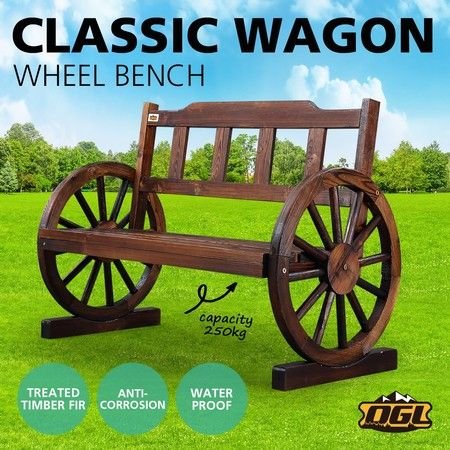 Wooden Garden Bench Outdoor Furniture with Wagon Wheel