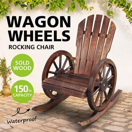 Wooden Chair Rocking Chair Outdoor Patio Furniture with Wagon Wheel Armrests