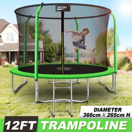Genki 12FT Trampoline Set with Safety Enclosure Net with Ladder