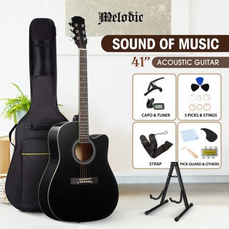 "Melodic 41"" Inch Wooden Folk Acoustic Guitar Classical Full Size Cutaway Full set Black"