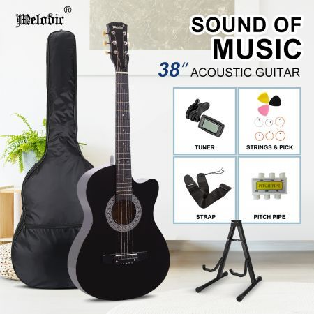 Melodic 38 Inch Wooden Folk Acoustic Guitar Classical Full Size Cutaway Full set Black