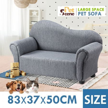 Petscene Pet Sofa Dog Cat Linen Fabric Armchair Puppy Kitten Soft Lounge Couch Double