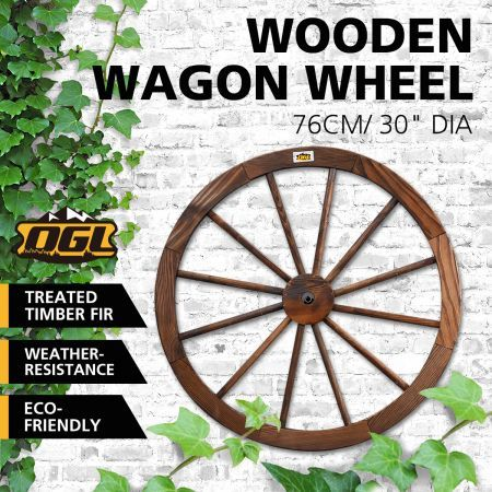 "Wooden Wagon Wheel Outdoor Decoration Garden Ornaments 30"" Timber"