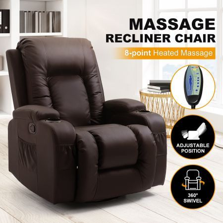 Electric Massage Chair Rocking Armchair Recliner Sofa Heated Seat 360° Swivel Brown
