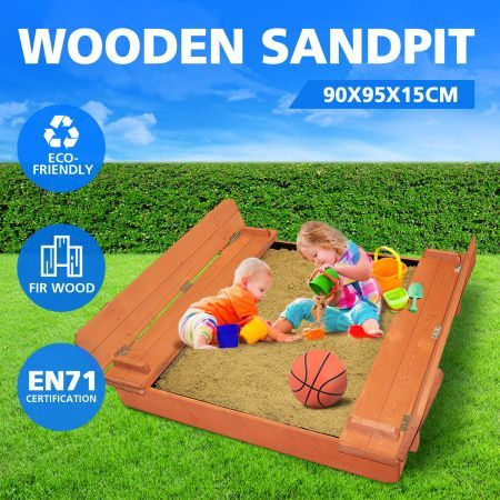 Wooden Sandbox Kids Sand Pit Toys with Benches Fir Wood 90x95x15cm