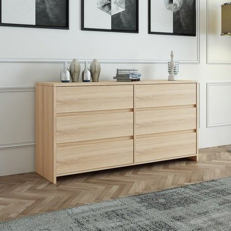 Oak Wooden 6 Drawer Chest Bedroom Drawers Storage Unit