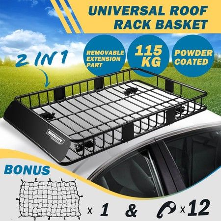 Powder Coated Steel Extra-long Car Roof Rack Basket Luggage Carrier with 6inch Walls - Black