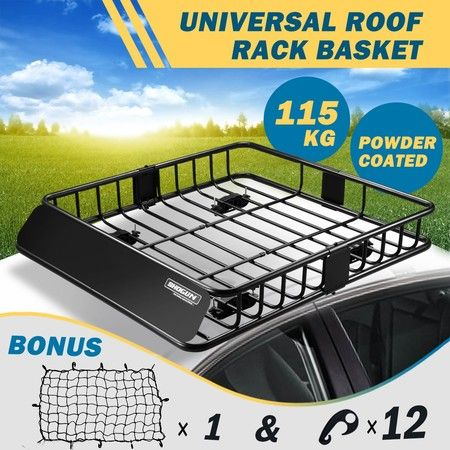 Powder-coated Steel Car Roof Rack Basket Luggage Carrier with 6inch Walls - Black