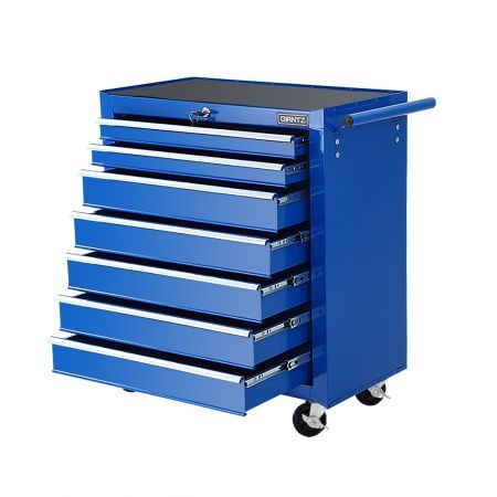 Giantz Tool Chest and Trolley Box Cabinet 7 Drawers Cart Garage Storage Blue