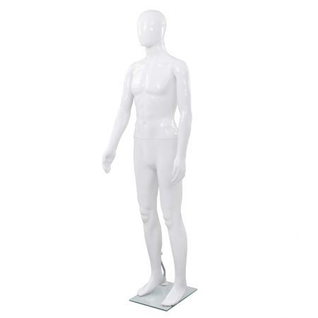 Full Body Male Mannequin with Glass Base Glossy White 185 cm