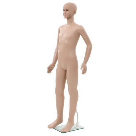 Full Body Child Mannequin with Glass Base Beige 140 cm