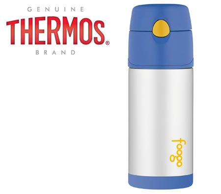 Thermos Foogo Leak-Proof Stainless Steel Vacuum Insulated Straw Bottle - Blue