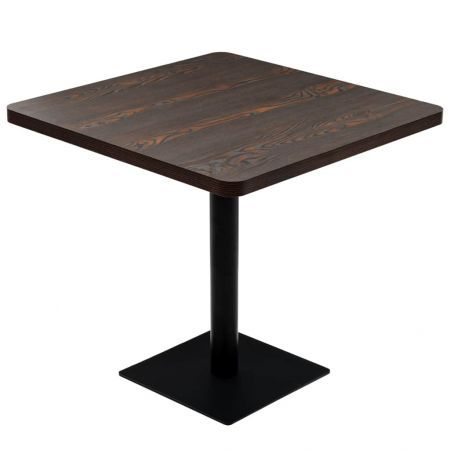 Bistro Table MDF and Steel Square 80x80x75 cm Dark Ash
