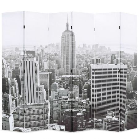Folding Room Divider 228x180 cm New York by Day Black and White