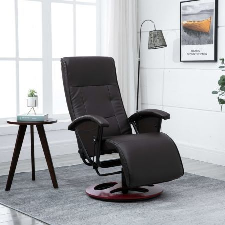 Swivel Tv Armchair Brown Faux Leather Crazy Sales