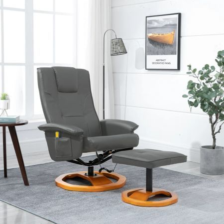 Massage Chair with Foot Stool Grey Faux Leather