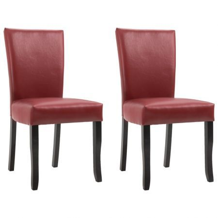 Dining Chairs 2 Pcs Wine Red Faux Leather Crazy Sales