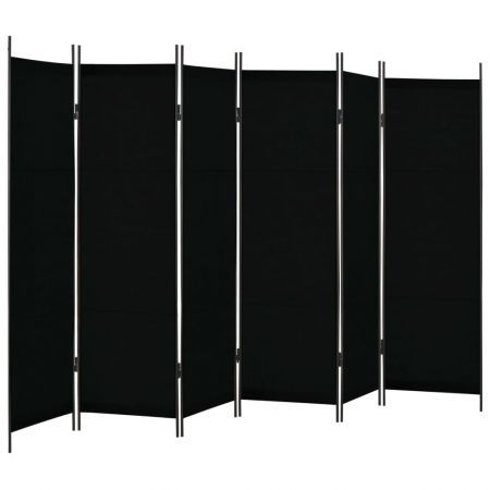 6-Panel Room Divider Black 300x180 cm