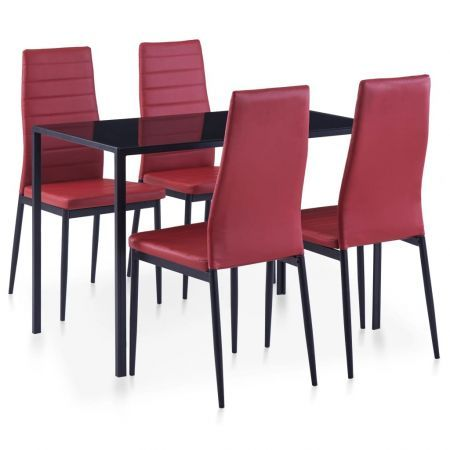 Five Piece Dining Set Wine Red