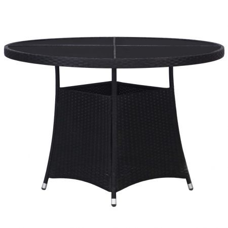 Garden Table Black 110x74 cm Poly Rattan