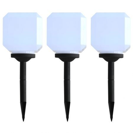 Outdoor Solar Lamps 3 pcs LED Cubic 20 cm White