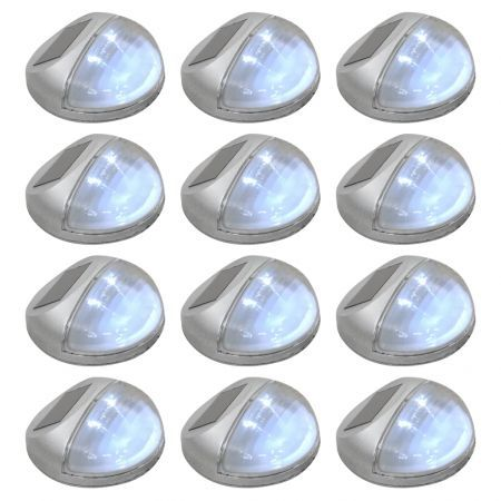 Outdoor Solar Wall Lamps LED 12 pcs Round Silver