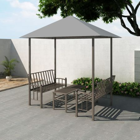 Garden Pavilion with Table and Benches 2.5x1.5x2.4 m Anthracite