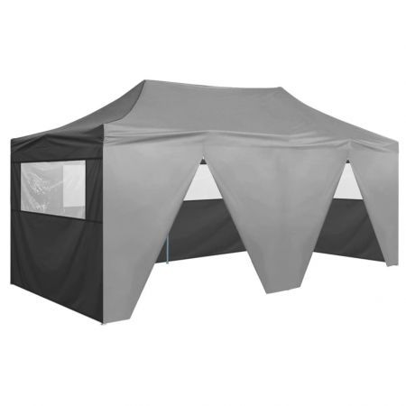 Folding Pop-up Party Tent with Sidewalls 3x6 m Anthracite