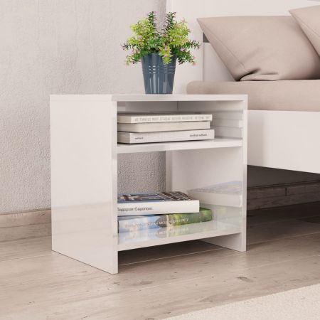 Bedside Cabinet High Gloss White 40x30x40 cm Chipboard