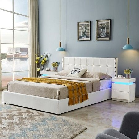 Leather Bed Frame King with Storage White