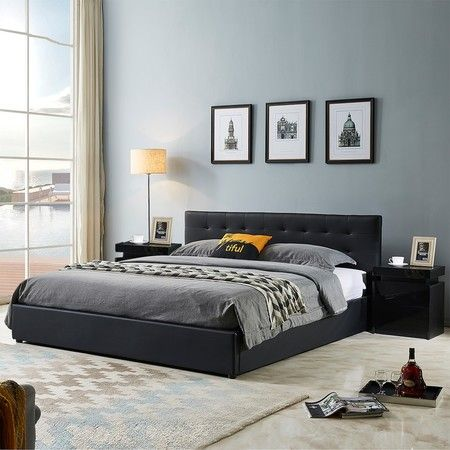 Queen Size Bed Frame PU Leather Gas Lift Storage Bed Base Wood Furniture - Black