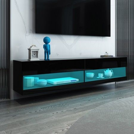 1.6m Wall Mount TV Cabinet Floating Wood Unit 2 Doors Shelf High Gloss Front Black