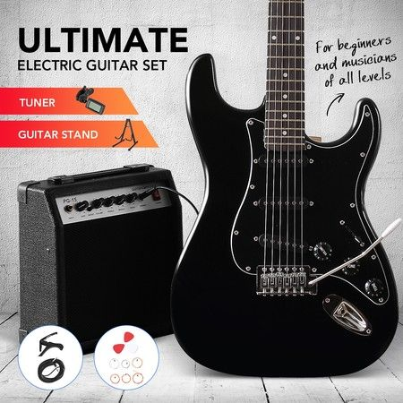 Melodic Full-Size 39 inch Electric Guitar with Bonus Amplifier Black
