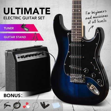 Melodic Full-Size 39 inch Electric Guitar with Bonus Amplifier Blue