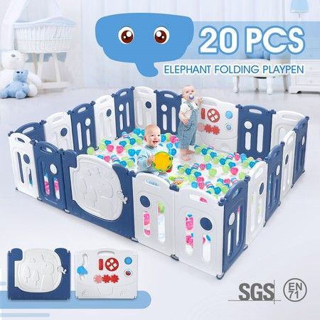 20-Panel Elephant Design Baby Toddler Safety Gate Playpen