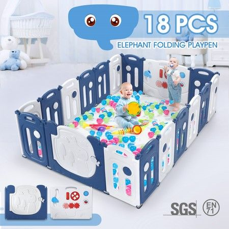 18-Panel Elephant Design Baby Toddler Safety Gate Playpen