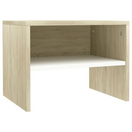 Bedside Cabinet White and Sonoma 40x30x30 cm Chipboard