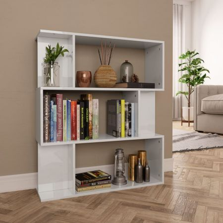 Book Cabinet/Room Divider High Gloss White 80x24x96 cm Chipboard